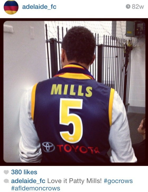 San Antonio Spurs guard Patty Mills is a life-long Adelaide Crows supporter. Image: adelaide_fc via Instagram