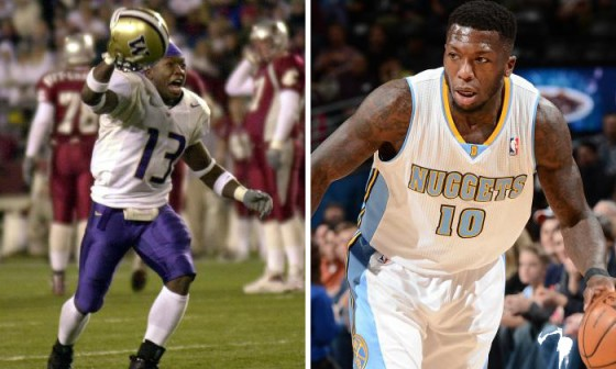 Nate Robinson played cornerback in college. Could he easily transition into the AFL? Image: Otto Greule and Garrett Ellwood/Getty Images